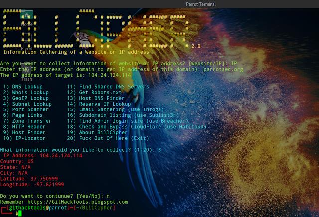 BillCipher – Công cụ thu thập thông tin dành cho trang web hoặc địa chỉ IP
