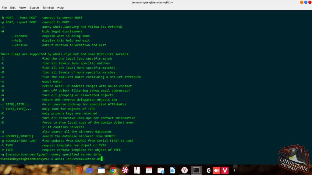 Kiểm tra tên miền và IP trên Linux
