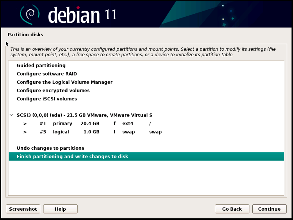 Hình 19.3: Chọn Finish partitioning and write changes to disk